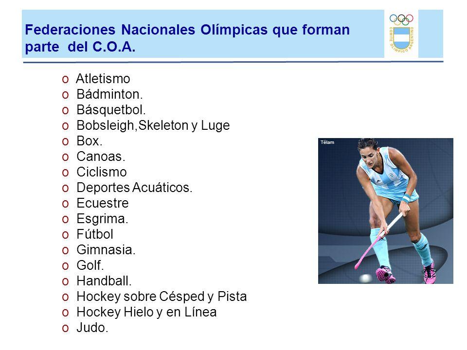 Federaciones Nacionales Olímpicas que forman parte del C.O.A.