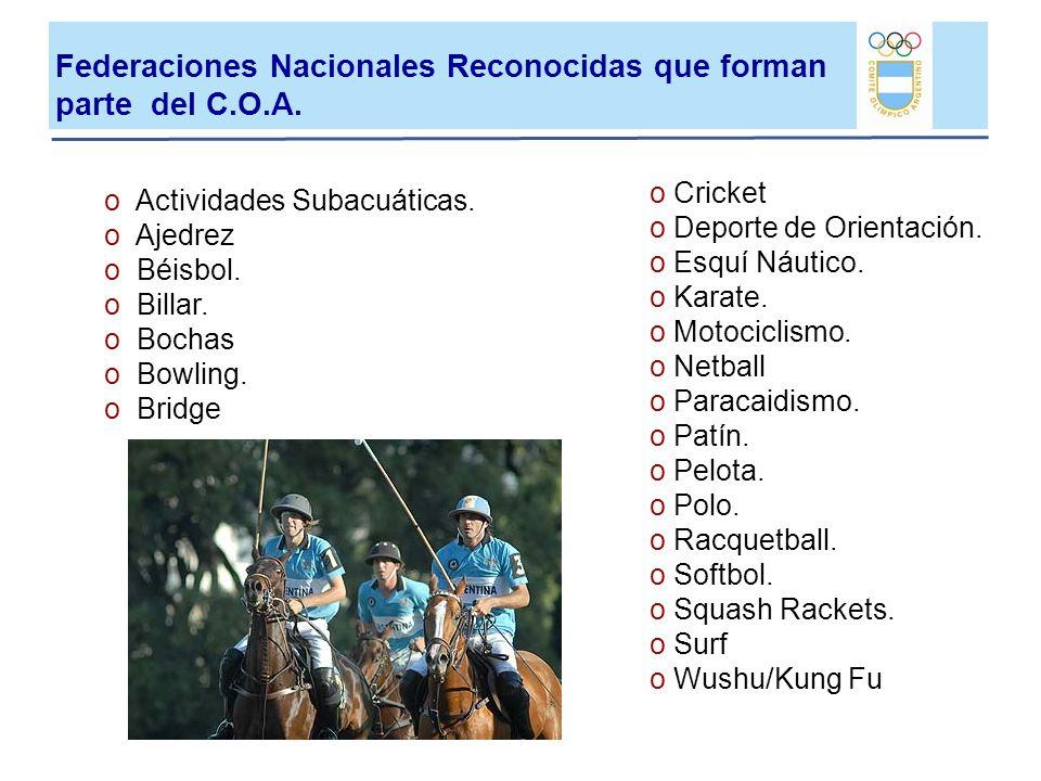 Federaciones Nacionales Reconocidas que forman parte del C.O.A.