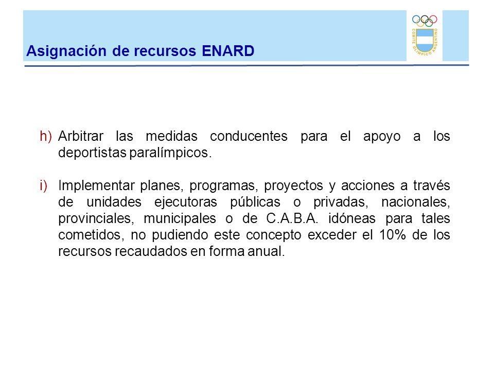 Asignación de recursos ENARD