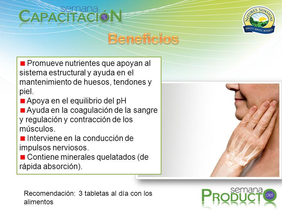 Beneficios Promueve nutrientes que apoyan al sistema estructural y ayuda en el mantenimiento de huesos, tendones y piel.