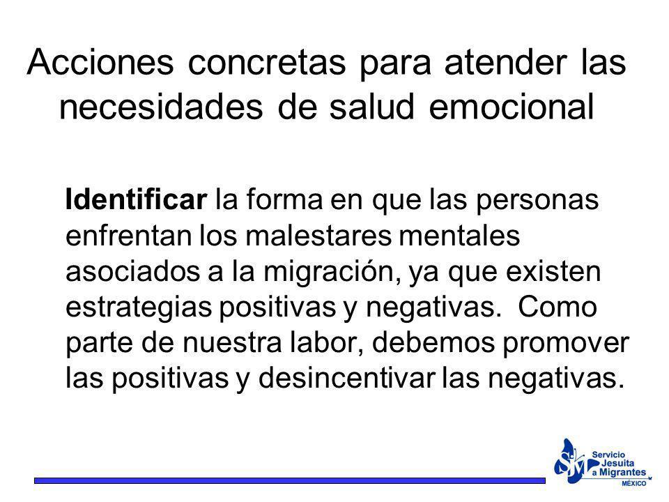 Acciones concretas para atender las necesidades de salud emocional