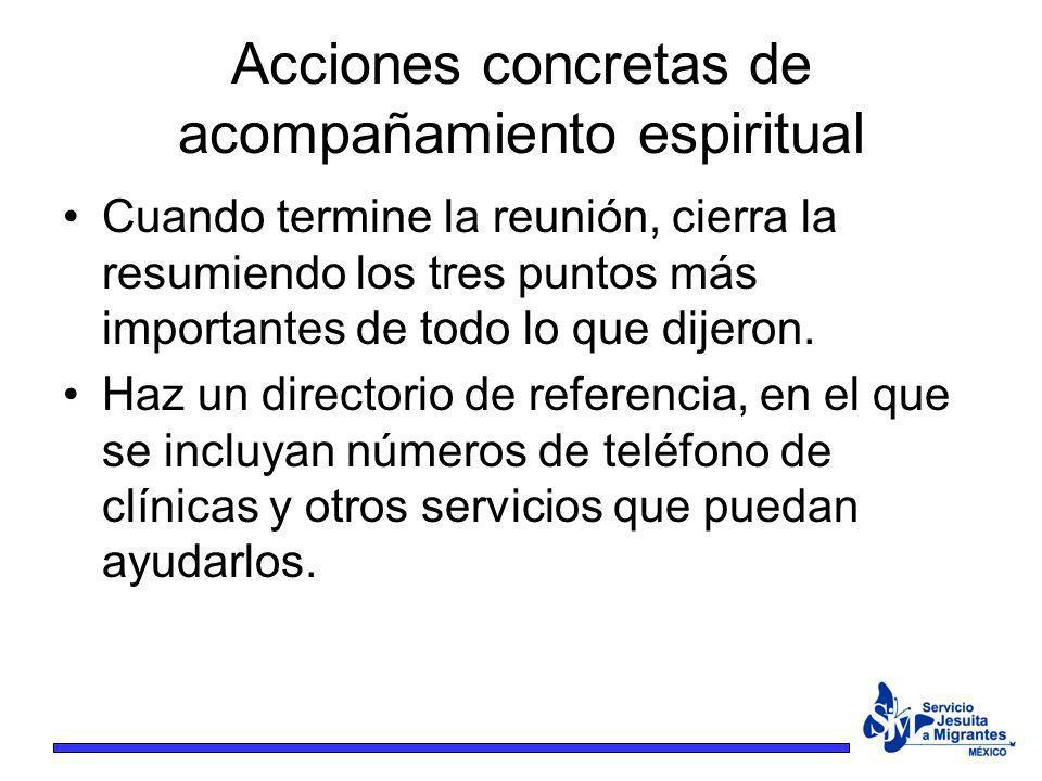 Acciones concretas de acompañamiento espiritual