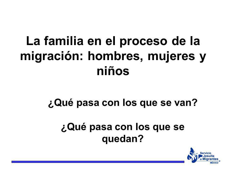 La familia en el proceso de la migración: hombres, mujeres y niños