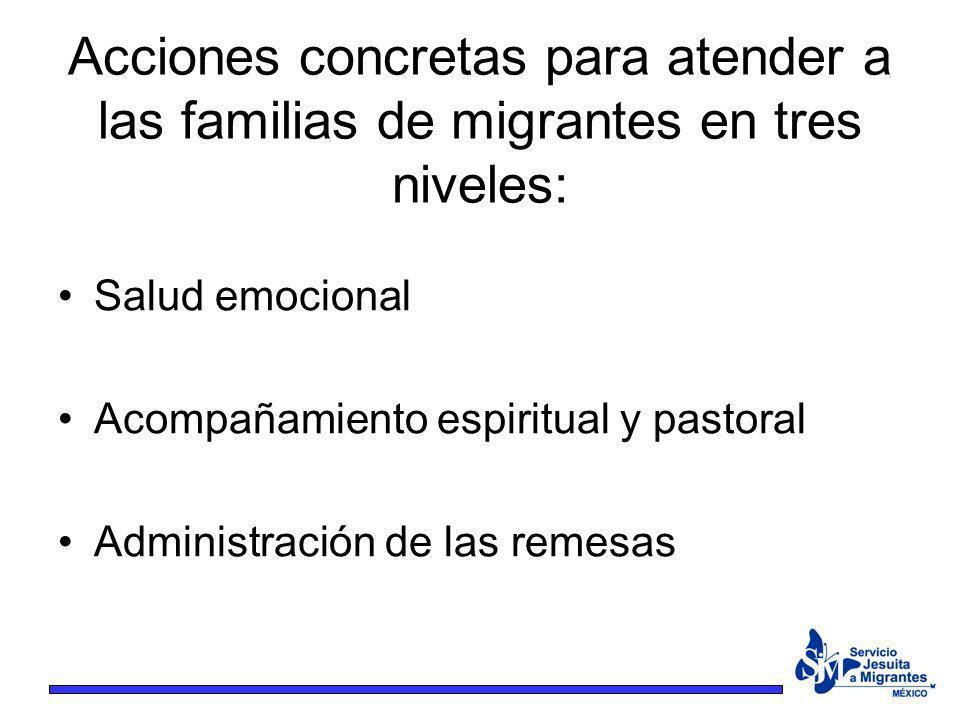 Acciones concretas para atender a las familias de migrantes en tres niveles: