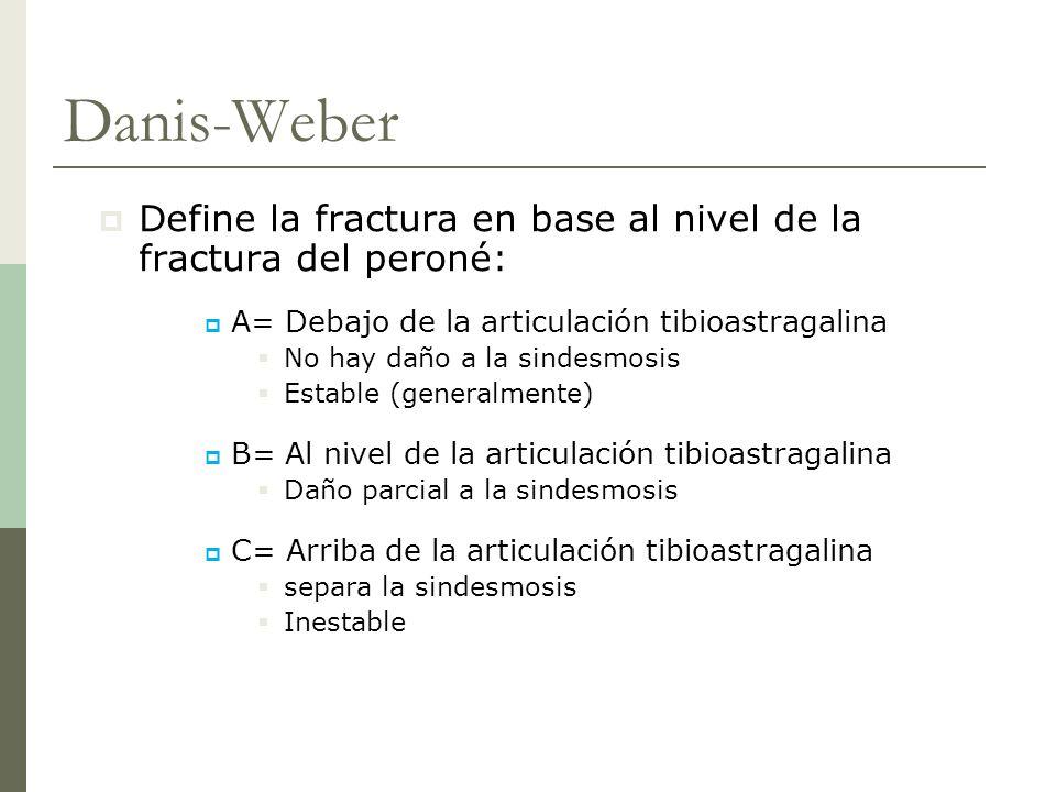 Danis-Weber Define la fractura en base al nivel de la fractura del peroné: A= Debajo de la articulación tibioastragalina.
