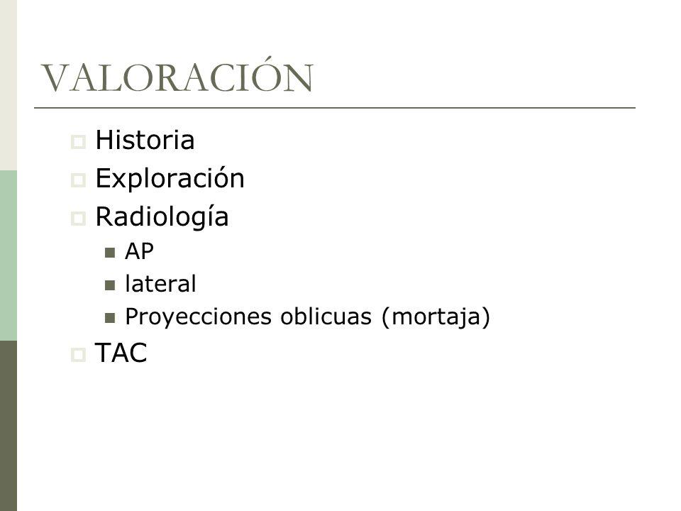 VALORACIÓN Historia Exploración Radiología TAC AP lateral