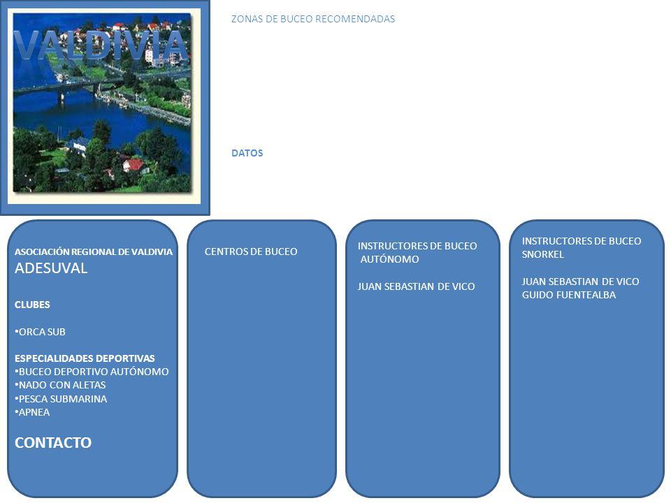 VALDIVIA ADESUVAL CONTACTO ZONAS DE BUCEO RECOMENDADAS DATOS