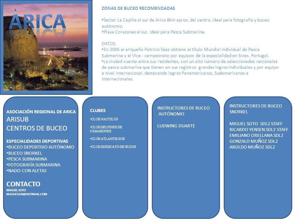 ARICA ARISUB CENTROS DE BUCEO CONTACTO ZONAS DE BUCEO RECOMENDADAS