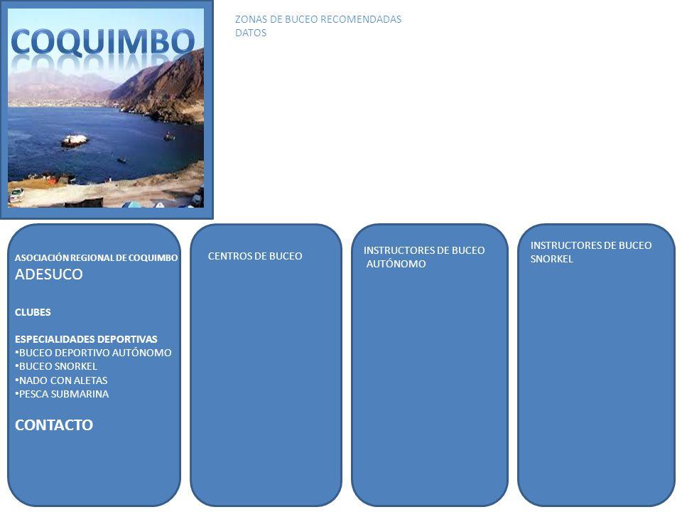 COQUIMBO ADESUCO CONTACTO ZONAS DE BUCEO RECOMENDADAS DATOS