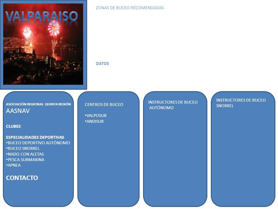 VALPARAISO AASNAV CONTACTO ZONAS DE BUCEO RECOMENDADAS DATOS