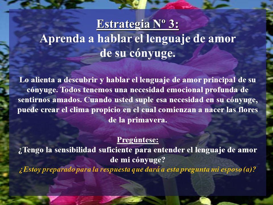 Estrategia Nº 3: Aprenda a hablar el lenguaje de amor de su cónyuge.
