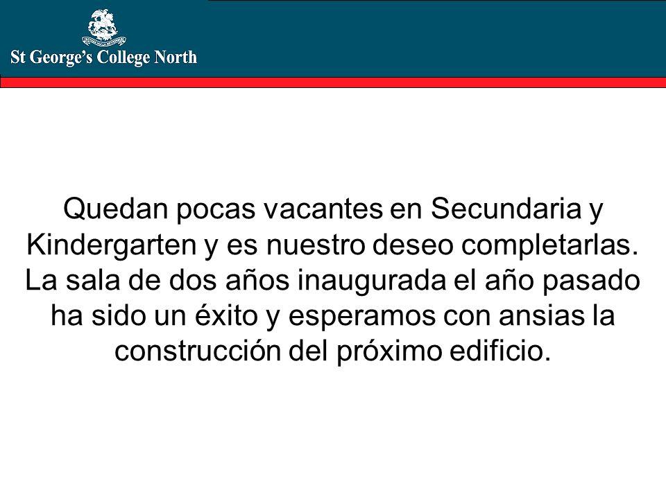 Quedan pocas vacantes en Secundaria y Kindergarten y es nuestro deseo completarlas.