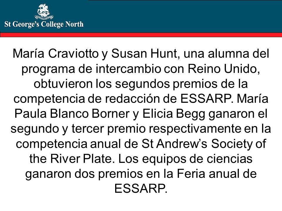 María Craviotto y Susan Hunt, una alumna del programa de intercambio con Reino Unido, obtuvieron los segundos premios de la competencia de redacción de ESSARP.