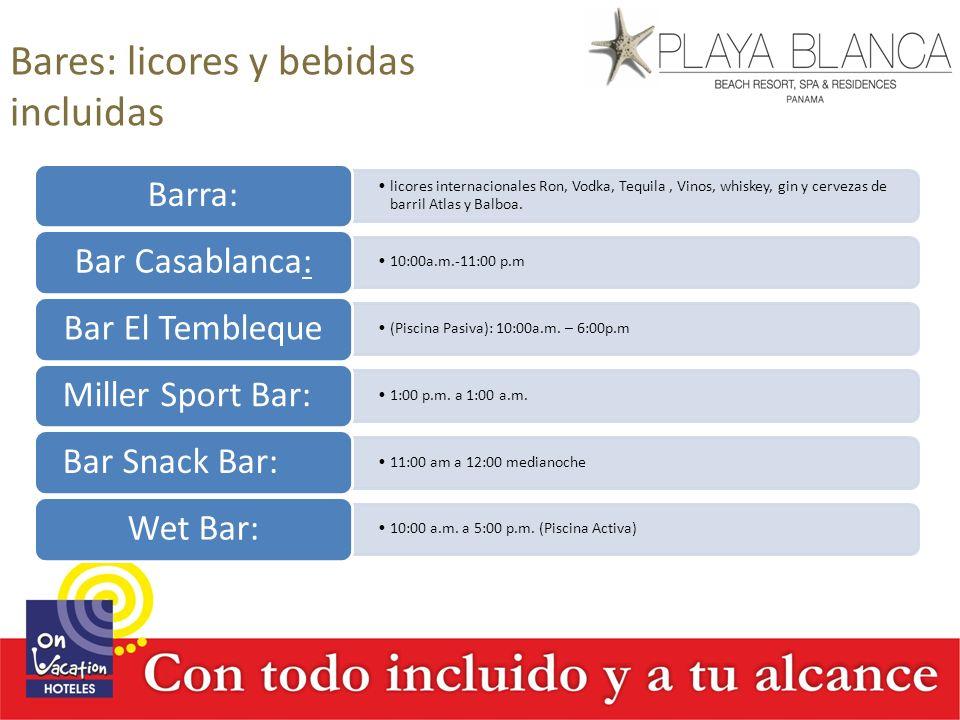 Bares: licores y bebidas incluidas