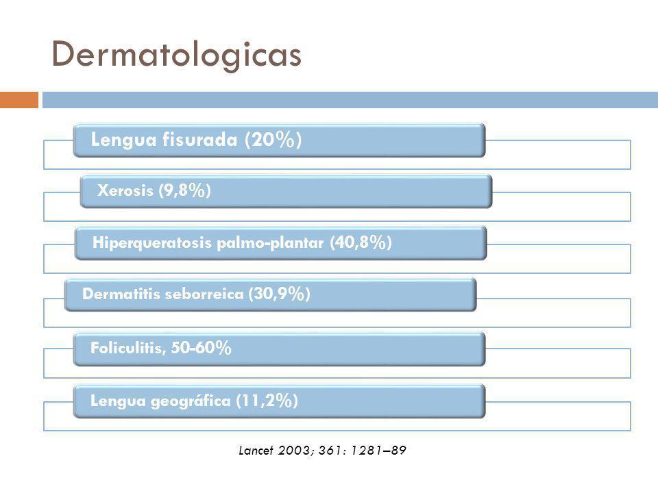 Dermatologicas Lengua fisurada (20%) Xerosis (9,8%)