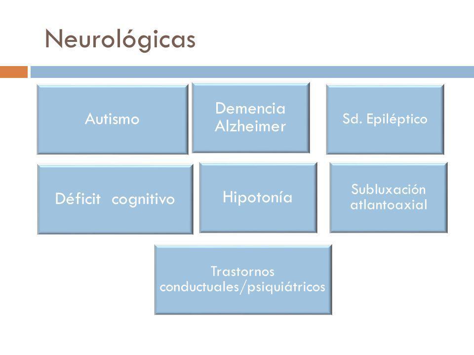Neurológicas Autismo Demencia Alzheimer Déficit cognitivo Hipotonía
