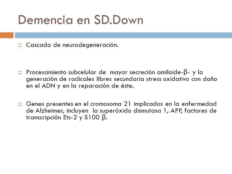 Demencia en SD.Down Cascada de neurodegeneración.