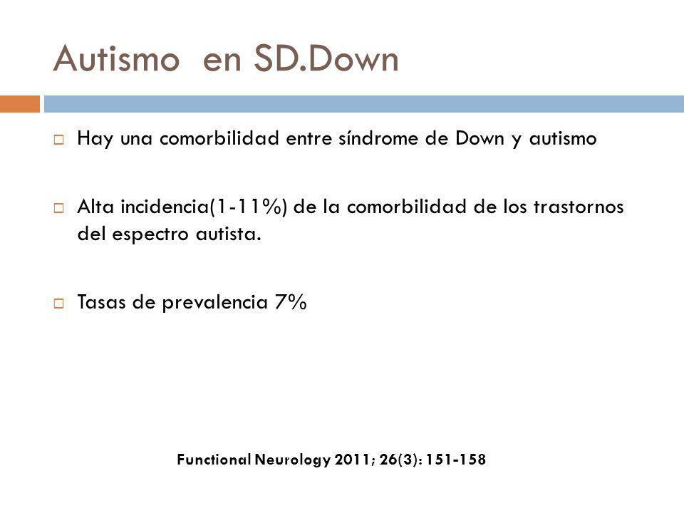 Autismo en SD.Down Hay una comorbilidad entre síndrome de Down y autismo.