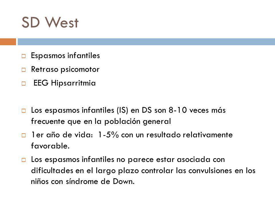 SD West Espasmos infantiles Retraso psicomotor EEG Hipsarritmia