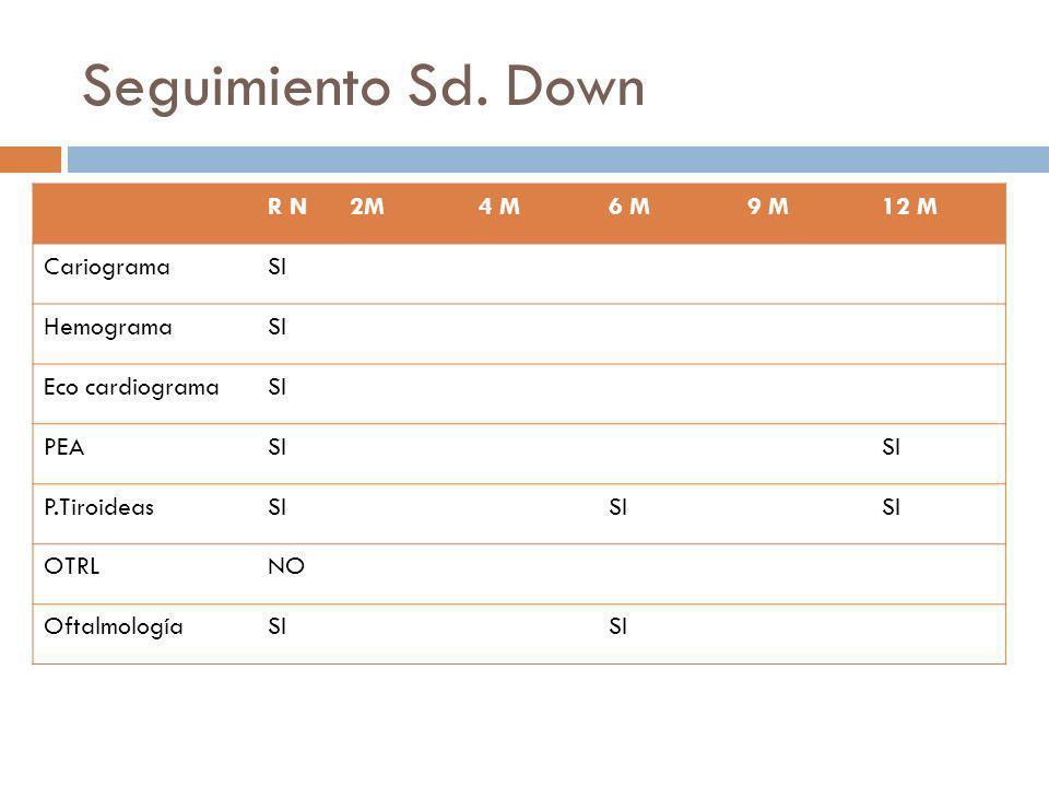 Seguimiento Sd. Down R N 2M 4 M 6 M 9 M 12 M Cariograma SI Hemograma
