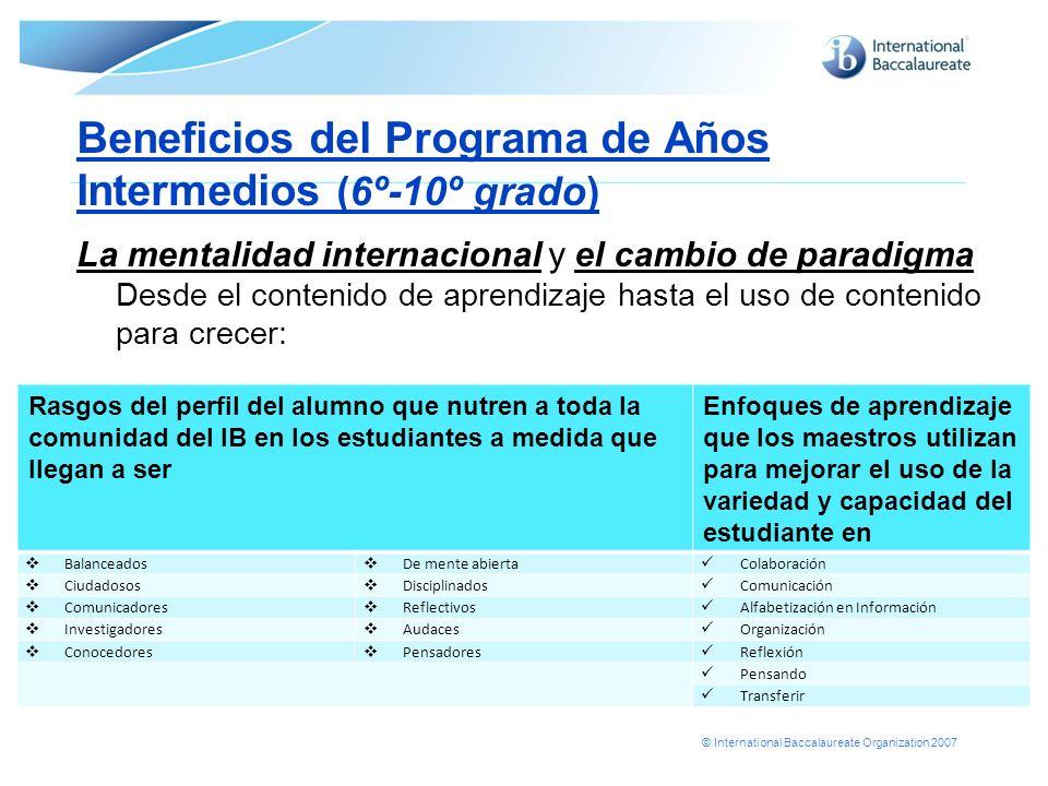 Beneficios del Programa de Años Intermedios (6º-10º grado)