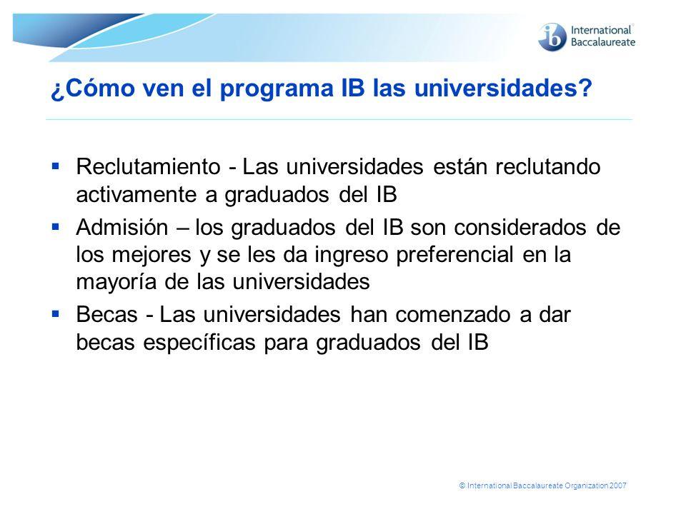 ¿Cómo ven el programa IB las universidades