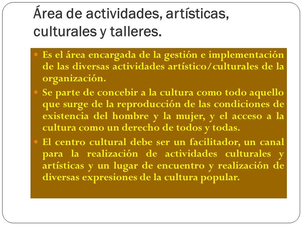 Área de actividades, artísticas, culturales y talleres.