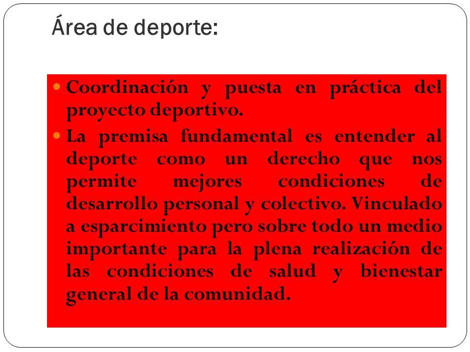Área de deporte: Coordinación y puesta en práctica del proyecto deportivo.