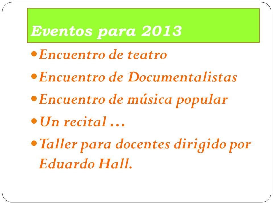 Encuentro de Documentalistas Encuentro de música popular Un recital …