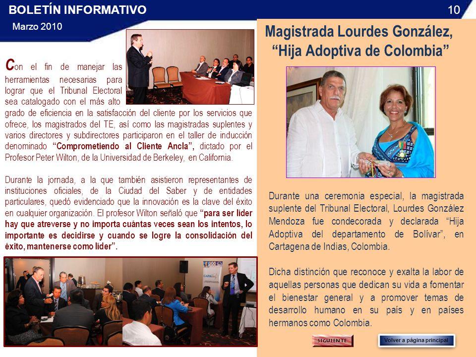 Magistrada Lourdes González, Hija Adoptiva de Colombia