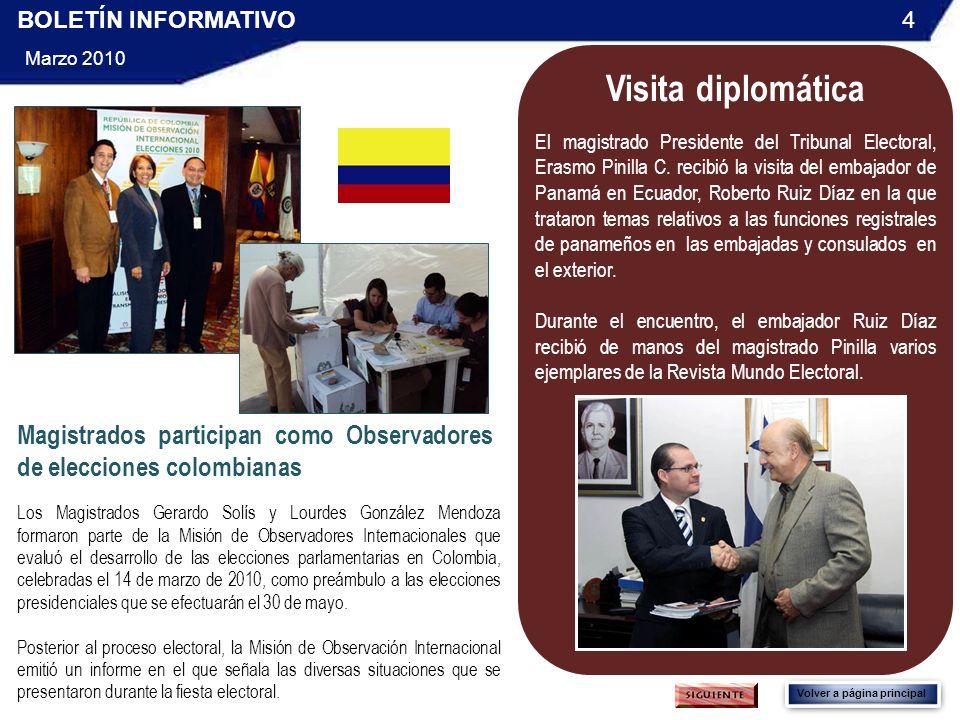 BOLETÍN INFORMATIVO 4. Marzo 2010. Visita diplomática.