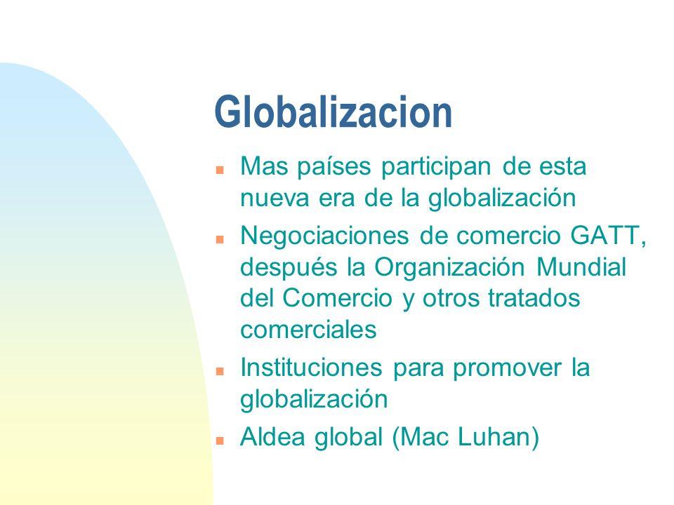 Globalizacion Mas países participan de esta nueva era de la globalización.