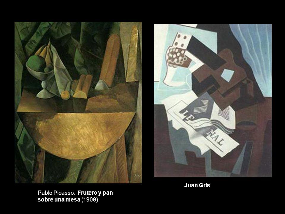 Juan Gris Pablo Picasso. Frutero y pan sobre una mesa (1909)