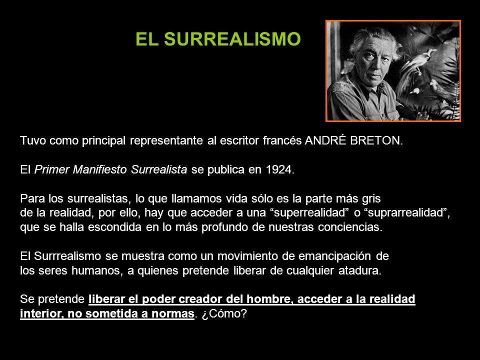 EL SURREALISMO Tuvo como principal representante al escritor francés ANDRÉ BRETON. El Primer Manifiesto Surrealista se publica en 1924.