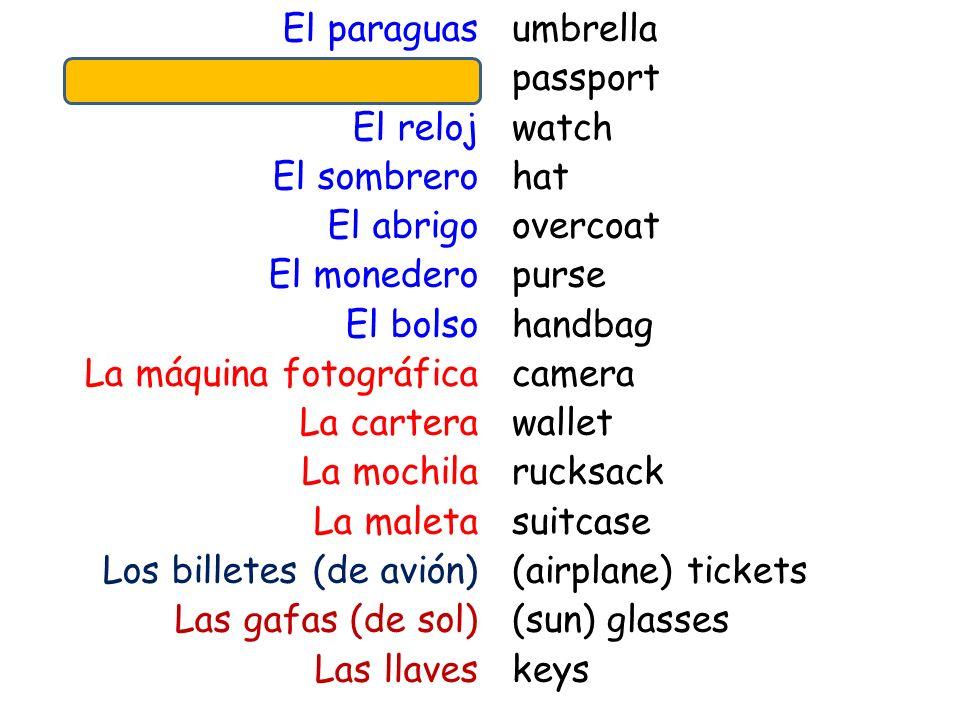 El paraguas El pasaporte El reloj El sombrero El abrigo El monedero El bolso La máquina fotográfica La cartera La mochila La maleta Los billetes (de avión) Las gafas (de sol) Las llaves