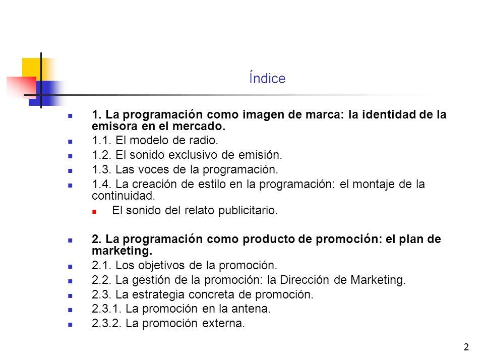 Índice 1. La programación como imagen de marca: la identidad de la emisora en el mercado. 1.1. El modelo de radio.