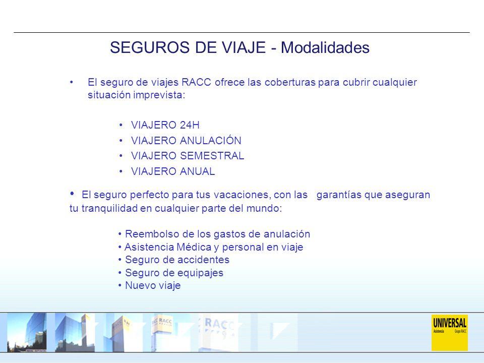 SEGUROS DE VIAJE - Modalidades