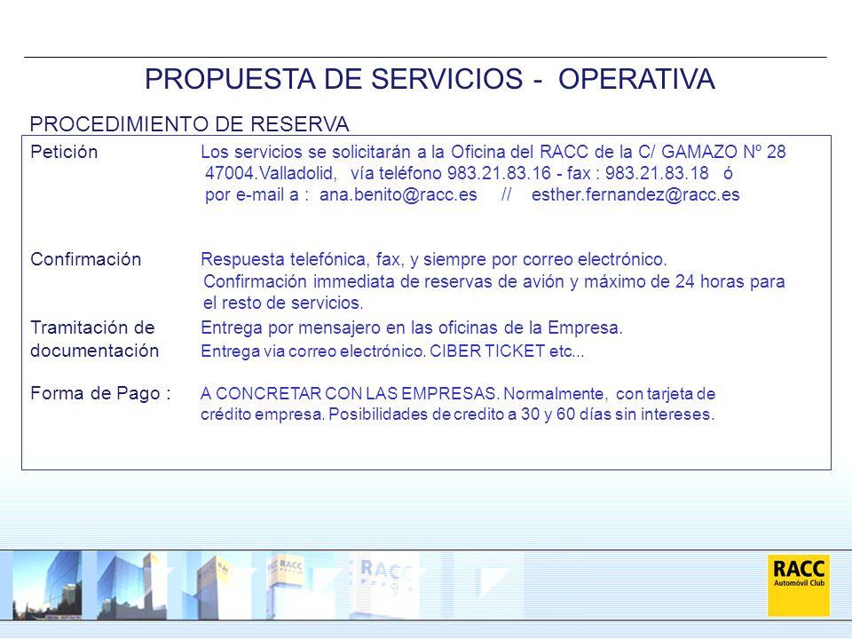 PROPUESTA DE SERVICIOS - OPERATIVA