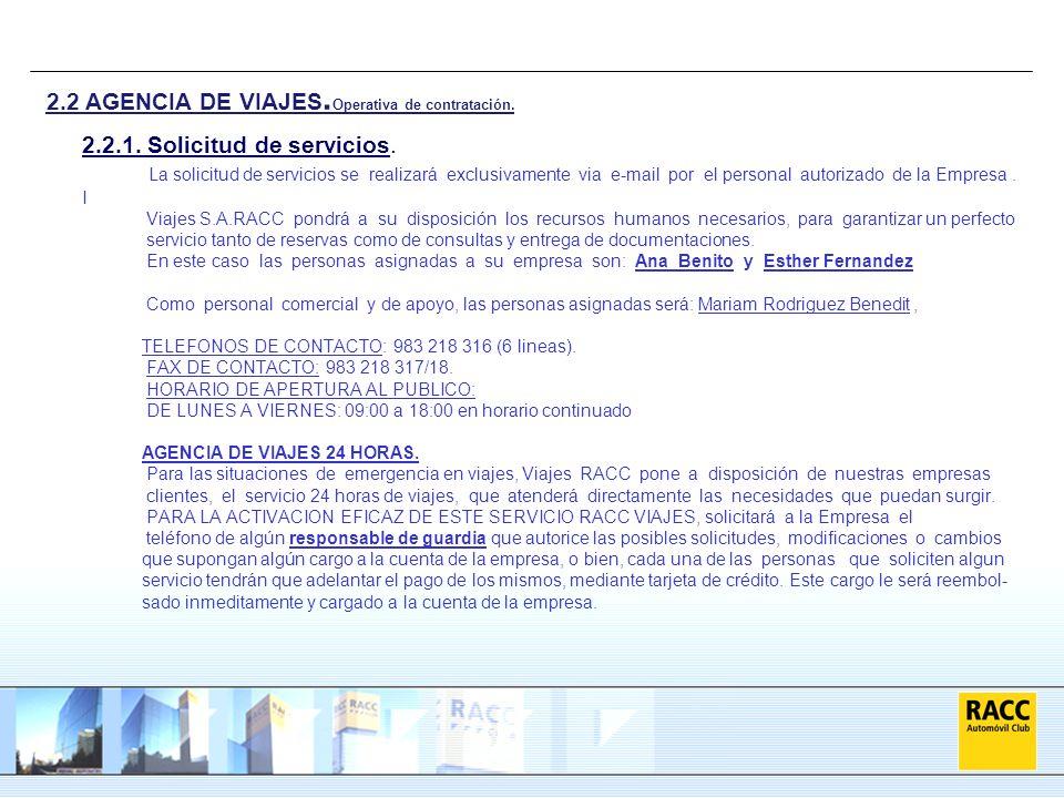 2.2 AGENCIA DE VIAJES.Operativa de contratación.