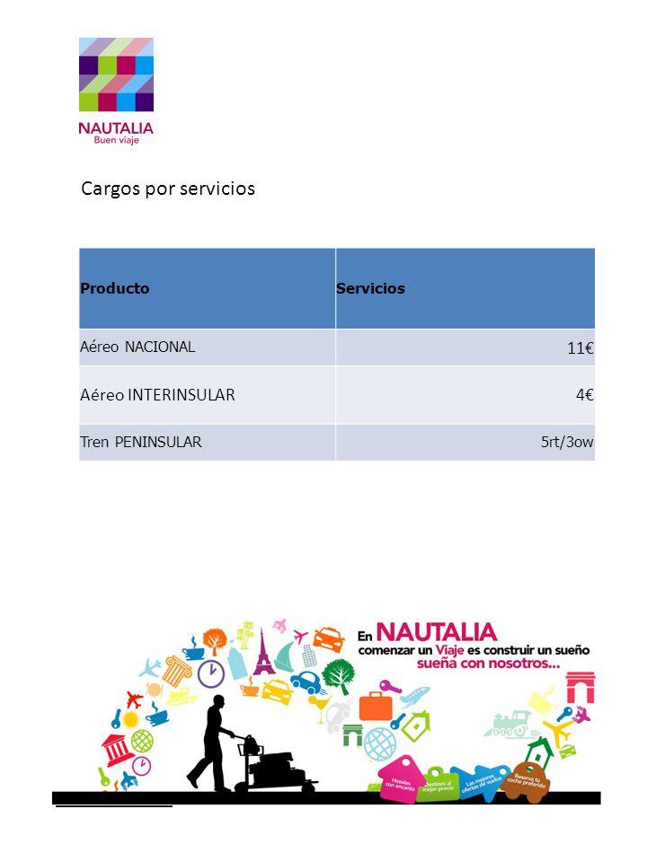 Comercial Oferta Cargos por servicios 11€ Aéreo INTERINSULAR 4€