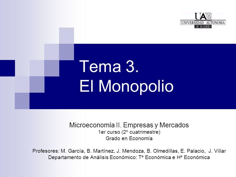 Tema 3. El Monopolio Microeconomía II. Empresas y Mercados