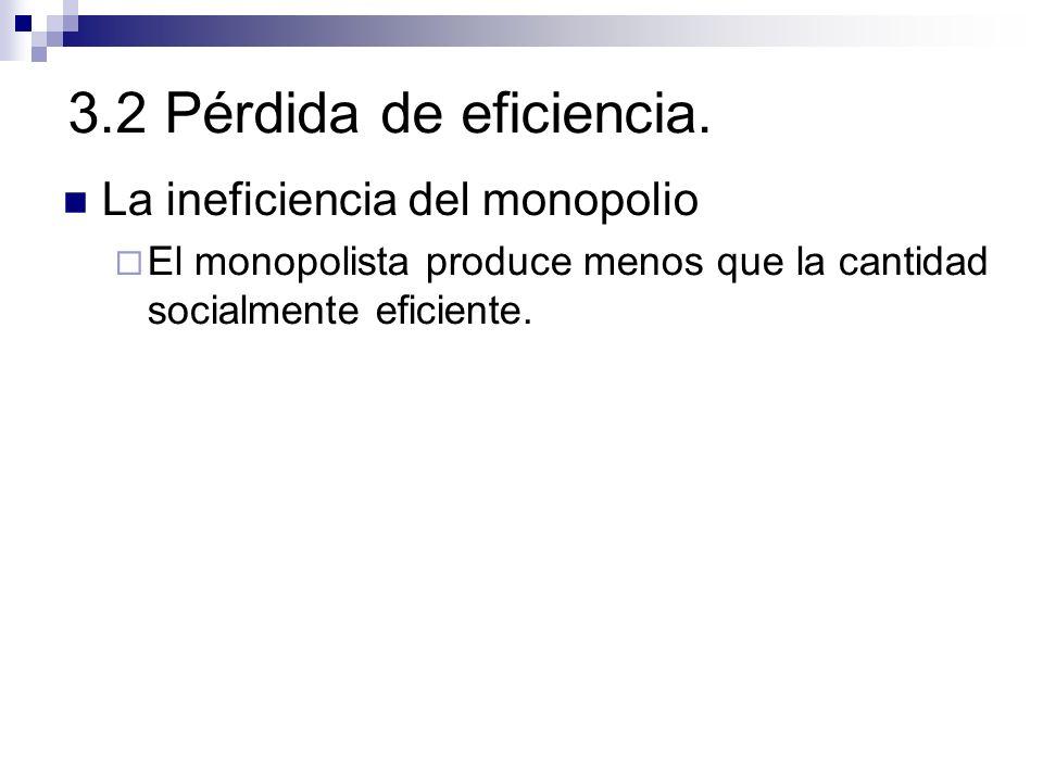 3.2 Pérdida de eficiencia. La ineficiencia del monopolio