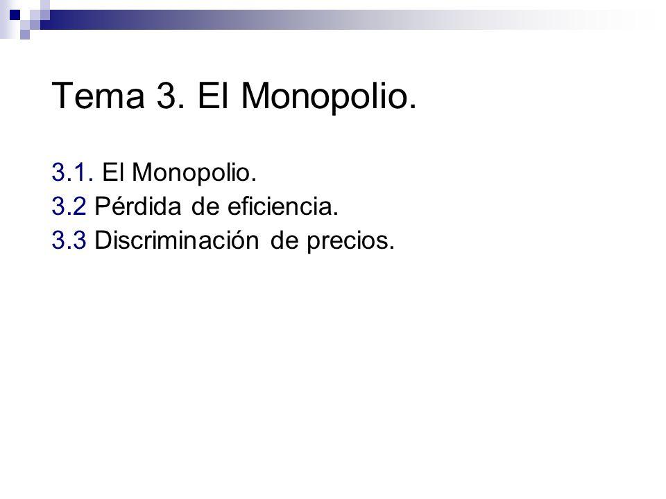 Tema 3. El Monopolio. 3.1. El Monopolio. 3.2 Pérdida de eficiencia.