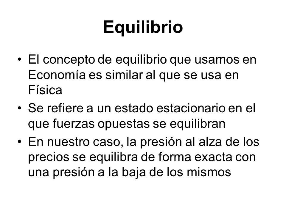 Equilibrio El concepto de equilibrio que usamos en Economía es similar al que se usa en Física.