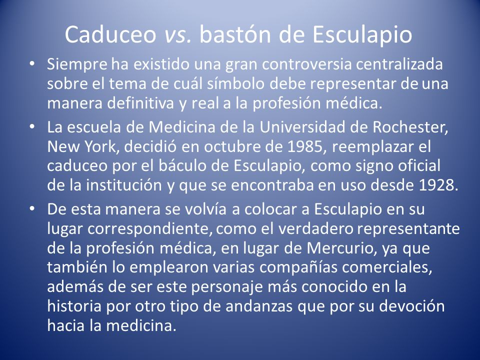 Caduceo vs. bastón de Esculapio