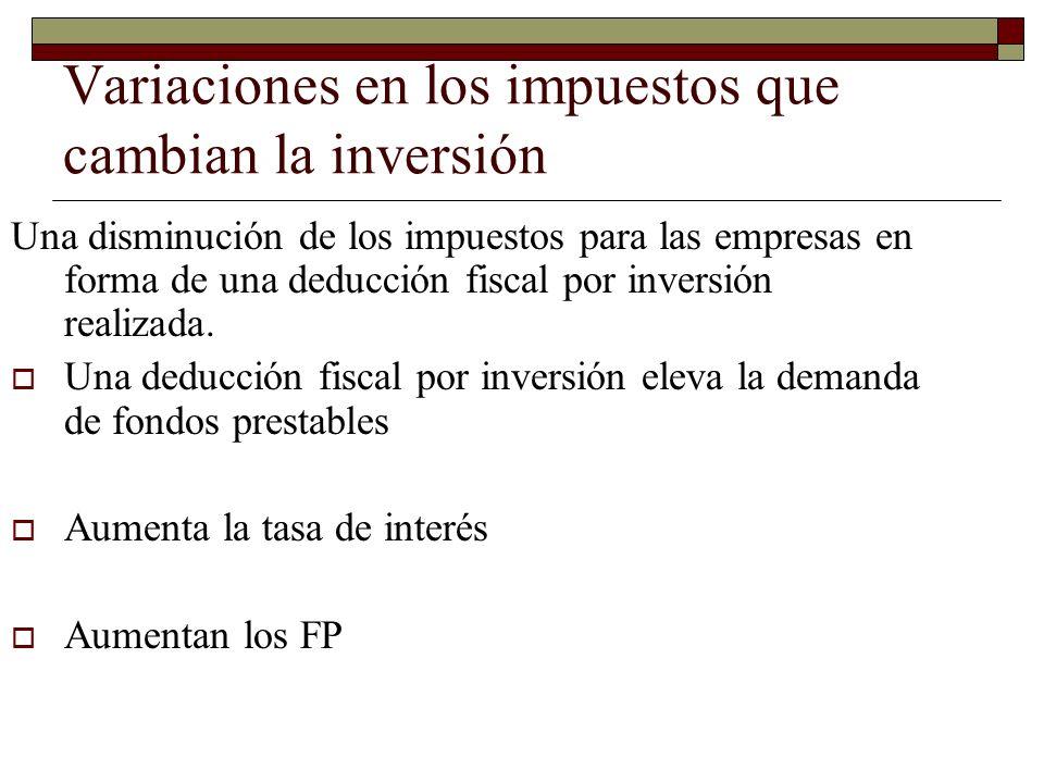 Variaciones en los impuestos que cambian la inversión