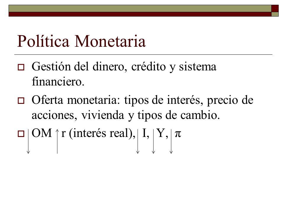 Política Monetaria Gestión del dinero, crédito y sistema financiero.