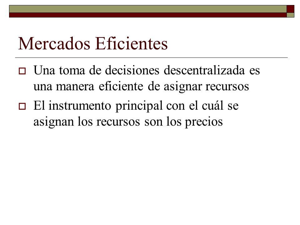 Mercados Eficientes Una toma de decisiones descentralizada es una manera eficiente de asignar recursos.