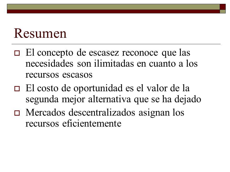 Resumen El concepto de escasez reconoce que las necesidades son ilimitadas en cuanto a los recursos escasos.