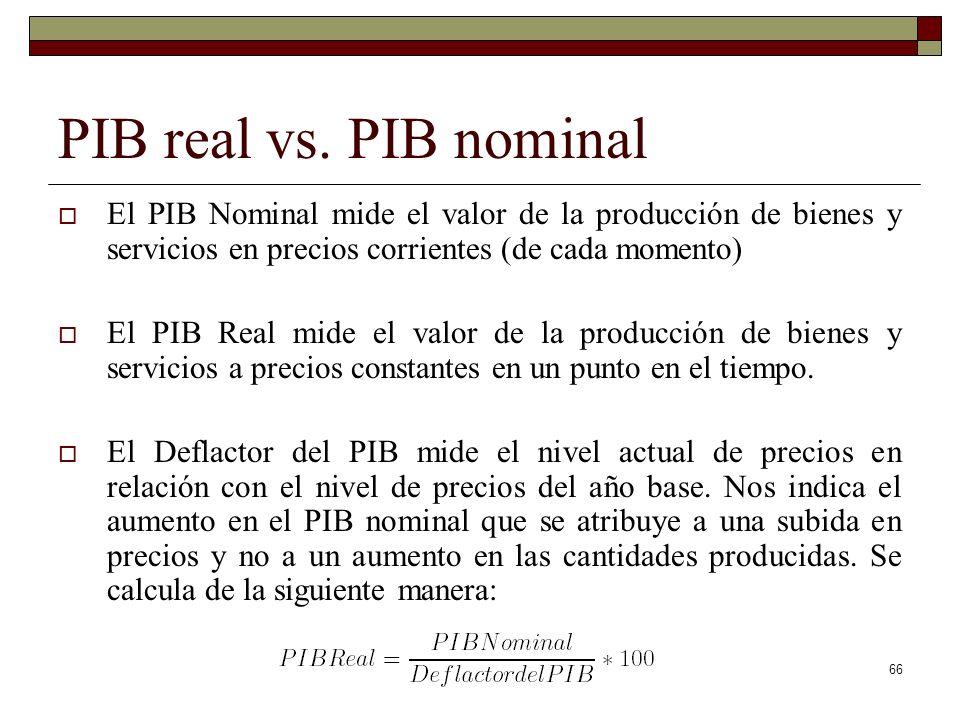 PIB real vs. PIB nominal El PIB Nominal mide el valor de la producción de bienes y servicios en precios corrientes (de cada momento)
